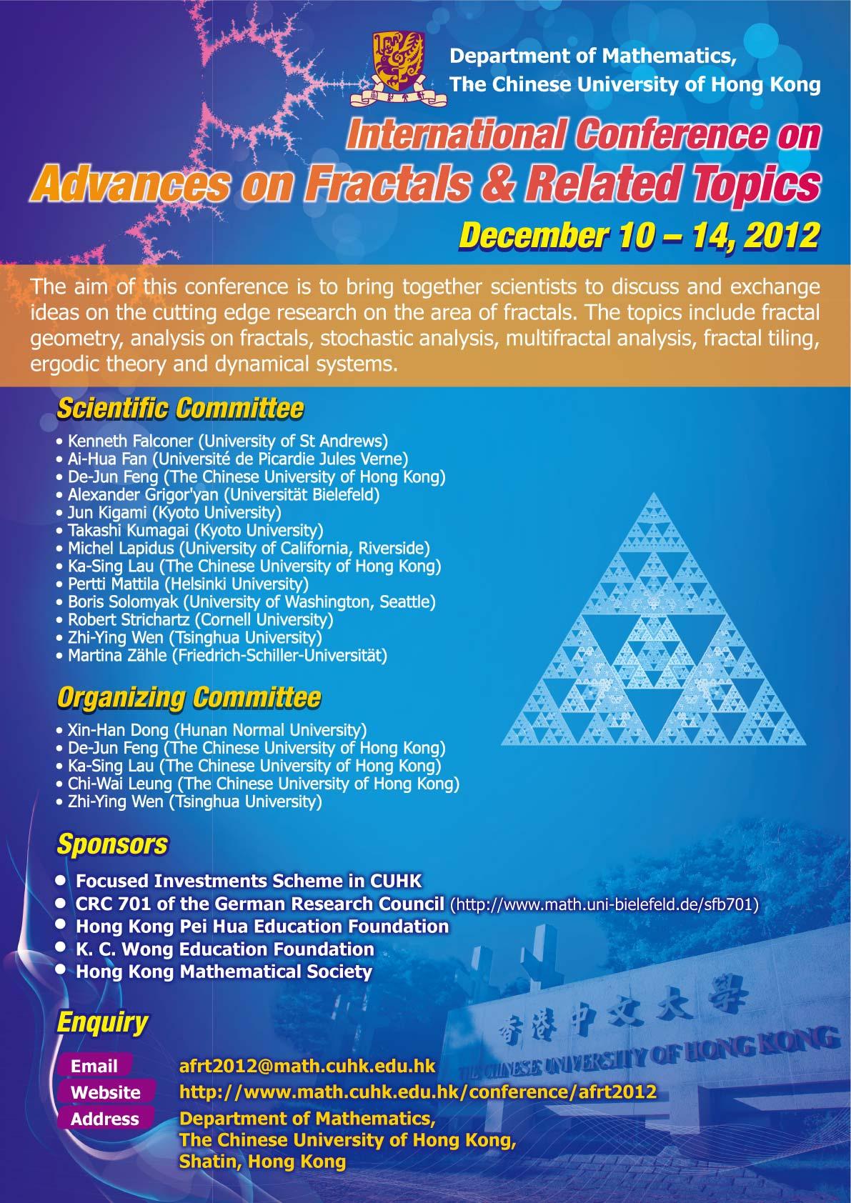 Advances on Fractals and Related Topics 2012 :: Dec 10-14 ...